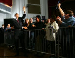 Barack Obama shakes hands with Iowa voters at the Veteran's Memorial Building in Cedar Rapids,...