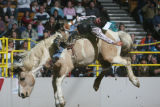 DM0211   Squeak Schmidt of Johnstown, Neb. competes in the saddle bronc during the National...