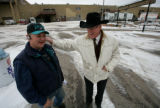 Ralph Walker (cq) and Pat Grant joke after discussing some of the logistics of the stock show at...