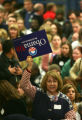An Obama Supporter at the Iowa caucus at the State Historical Building in Des Moines, Iowa, on...
