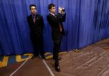 Mike Huckabee campaign staffers prepare for an event at New England College in Concord, NH on...