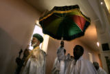 0517 Archbishop Markos, left,  joins a procession of a replicating the tablets containing the ten...