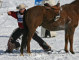 Evan Jayne , Bare Back Rider, Marseillem France, runs into a horse during a race at the Bud Light...