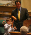 William Joslin (cq), age 7, bangs the gavel as Speaker of the House Andrew Romanoff (cq) D-Denver...