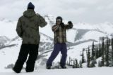 Training Coordinator Jenner Richard, coaches Alexis Roemer on the superpipe at Crested Butte,...