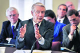 CU President Hank Brown talks to the Legislative Audit Committee at a hearing on November 8, 2005,...
