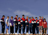 2005 Rocky Mountain News All-Colorado boys tennis team. 13 members, plus coach. Photographed at...