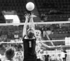 (Lt. to Rt.) Flagler High School's Mindy Cordell blocks Kit Carson High School's Jill Ball, during...
