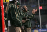 SPECIAL TO THE ROCKY MOUNTAIN NEWS -- Colorado State  head coach, Sonny Lubick, urges his team on...