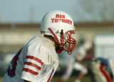 Keenesburg, CO Oct. 27, 2005 The Red Thunder football team practices at Weld Central High School...