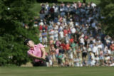 On the 18th hole Morgan Pressel hits it out of the rough and bogied this hole which dropped her to...