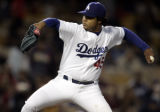 Dodger pitcher Odalis Perez delivers a pitch during 4-28-05 game against Colorado  at Dodger...