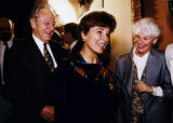 On 5/25/95 Becky Love Kourlis (c) leaves a press conference with the then Gov. Roy Romer.  Romer...