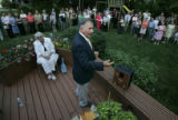 Rep. Tom Tancredo, R-Littleton addresses a crowd of nearly one hundred people affiliated with the...