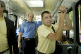 Denver, CO July 7, 2005 Steven Nytko, a native of Britain, rides the bus on the 16th St. Mall,...