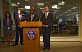 Assistant General Manager of RTD Phil Washington (cq), at the podium, answers media questions...