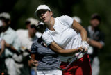 Karine Icher tees off on the 9th hole on the second day of competition in the 2005 U.S. Women's...