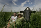 Dr. Arden Nelson, left, and wife Dr. Meg Cattell, right, owners of Windsor Dairy, in Windsor,...
