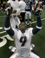 Ahmad Hawkins of the Colorado Crush celebrates their 51 to 48 victory over the Georgia Force in...