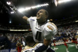 Rashad Floyd celebrates the Colorado Crush's victory 51 to 48 over the Georgia Force in the...