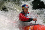 (VAIL, COLO., JUNE 3, 2004)  Steve Fisher, #3,  paddles hard down Dowd Chute just east of Vail,...