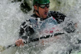 (VAIL, COLO., JUNE 3, 2004) Amateur Kayaker, Randall Stone comes up for air as he paddles hard...