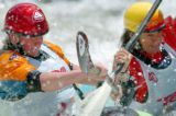 (VAIL, COLO., JUNE 3, 2004)  Women's Kayakers #27, Anna Levesque, left, and #48, Polly Green,...