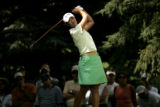 Birdie Kim, of Korea, tees off on the 16th hole on the final day of competition in the 2005 U.S....