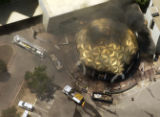 Flames erupted behind the landmark golden dome of the Regency: Auraria's Student Housing...
