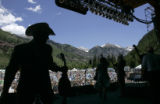 The Wilders prepare to leave the stage after their performance at the 32nd Annual Telluride...