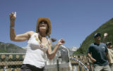 Corinne Carlstrom (cq), of Marin, CA., dances to the Hot Buttered Rum String Band at the 32nd...