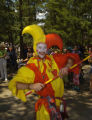 Court Jester Micah Speirs (cq) marches along in the Royal Parade Sunday morning June 26, 2005...