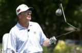 Golf performer Dennis Walters shows off a specialty  club as he executes trick shots and gives...