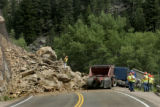 A rock slide on Hwy 6 along Clear Creek in Jefferson County, which happened around noon on June...