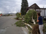 Chris Hertel surveys damage to trees near the Alpine West Office Supply store in Granby, Colo., ...
