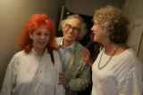 Artists Jeanne-Claude, left, and her husband Christo, are greeted by Elizabeth Eads, cq, Denver,...