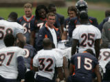 JPM604 - Denver Broncos coach Mike Shanahan talks to his players after practice at their training...