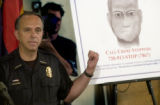 Denver Police Chief Gerry Whitman announces, at a Press conference held Friday, July 22, 2005,...