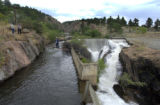 Water is diverted from the Home Supply Diversion Dam on the Big Thompson River west of Loveland...