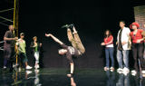 Denver, CO Aug. 12, 2005 Josh Vigil break dances as the North High School Black Masque Theatre ...