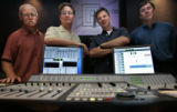 Standing in a audio post production room (L-R)  Sonny Hutchinson,  Chief Creative Officer, Duke...