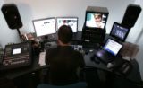 "Brian Sheehan (cq) , edits an upcoming episode of ""Challenge"" for the Food Network in an..."