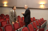 CU President  Hank Brown talks with State Representative Kevin Lundberg (R-Berthoud) after ...