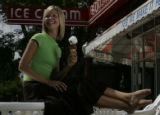 JPM0134 - April wears a selection of t-shirts and summery skirts at the Bonnie Brae Ice Cream...