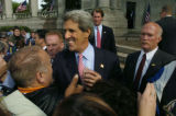 (06/21/2004)  Senator John Kerry came to a rain soaked Civic Center Park Monday afternoon. (JUDY...