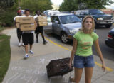 Incoming freshmen student at the University of Colorado, Aly Franklin (cq), right, 19, of Pueblo,...