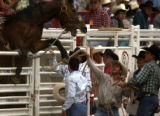 A horse explodes over the top of a chute during the rookie saddle bronc riding event at Cheyenne...