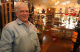 Morrison, Colo.,  July 1, 2004- Gary Briggs, owner of Morrison Liquor, stands on the  origional...