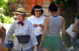 Morrison, Colo.,  July 1, 2004- Lila Horton (center) duirng her once-a-year  yard sale outside the...
