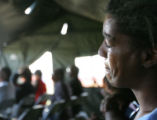 Alice Zanders, cq, 45, of New Orleans cries during a church service in a tent outside the...